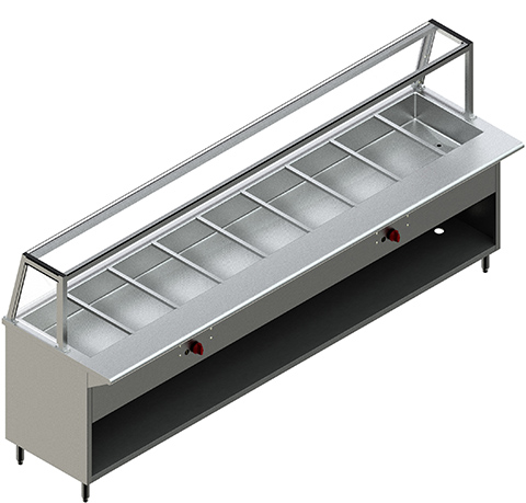 120″ Steam Table with Single Sided Sneeze Guard