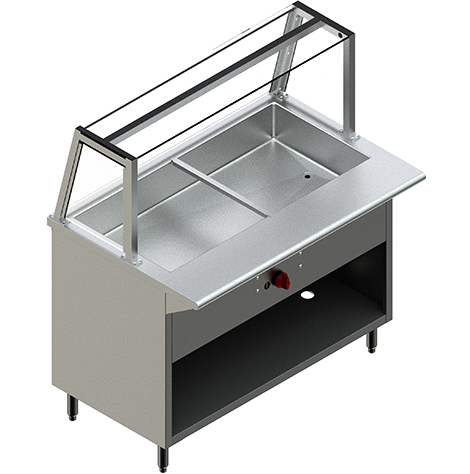 48″ Steam Table with Single Sided Sneeze Guard