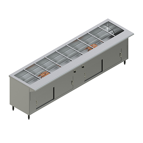 120″ Electric Steam Table with 2 heater elements