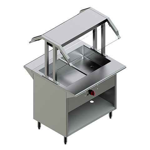 36″ Gas Steam Table with Two Sided Sneeze Guard
