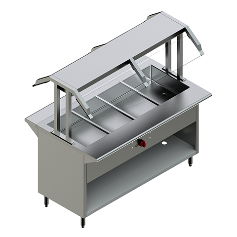 48″ Gas Steam Table with Two Sided Sneeze Guard
