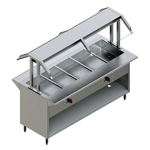 60″Gas Steam Table with Two Sided Sneeze Guard