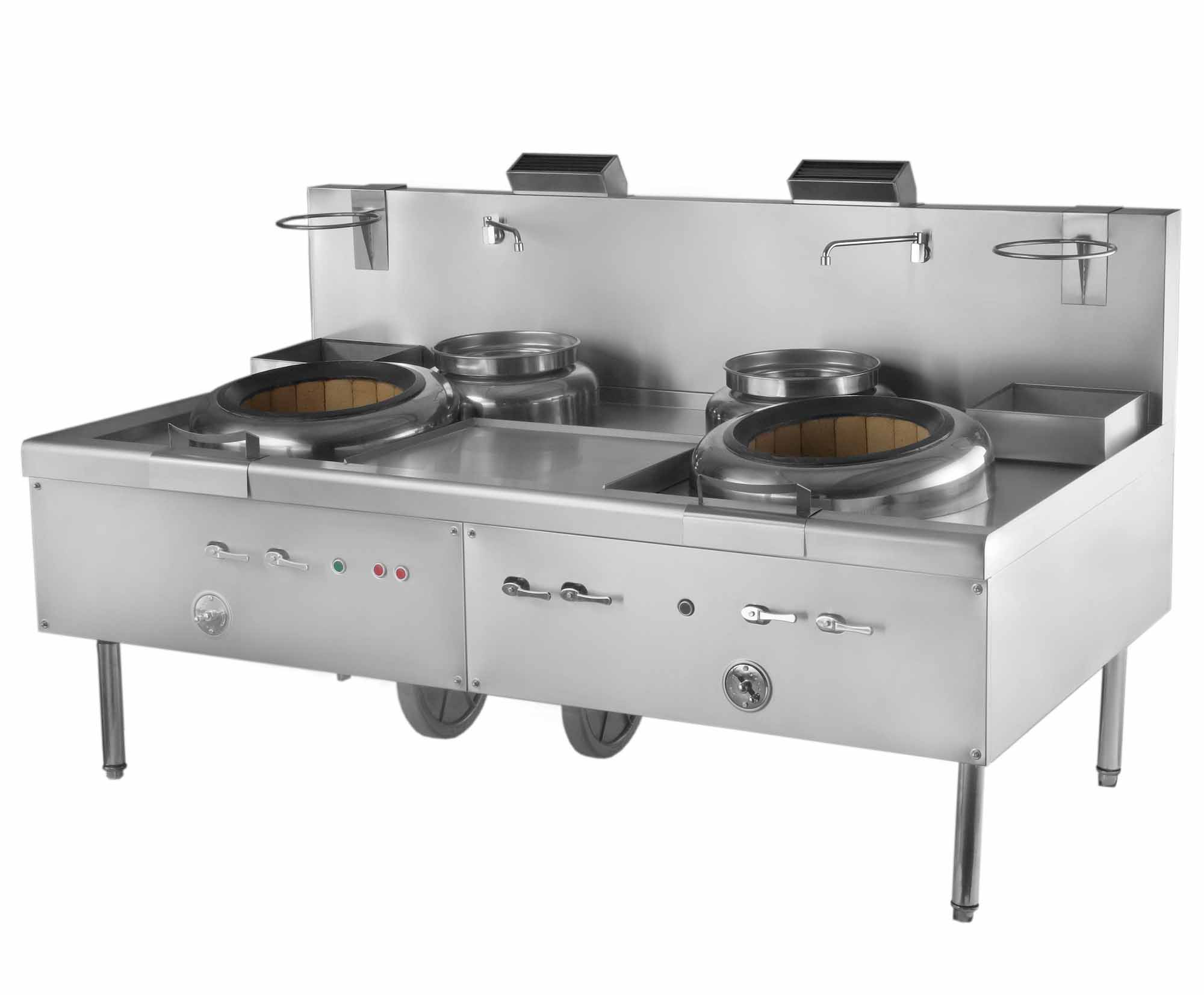 Two Chambers Hong Kong Style Blower Gas Wok Range and 2 Soup Pots – 360,000 BTU, NSF