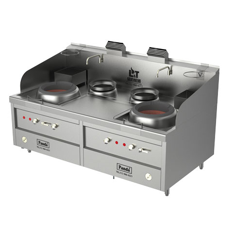 Two Chambers Natural Gas Hong Kong Style Blower Wok Range and Two Soup Pots – Total 238,800 BTU, NSF, MEA