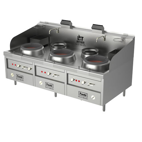 Three Chambers Natural Gas Hong Kong Style Blower Wok Range and Two Soup Pots, NSF