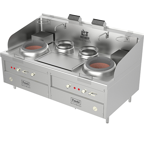 Two Chambers Hong Kong Style Blower Gas Wok Range and 2 Soup Pots, Total 238,800 BTU, NSF, MEA