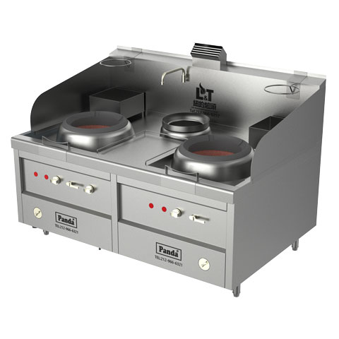 Two Chambers Natural Gas Hong Kong Style Blower Wok Range and Soup Pot – Total 238,800 BTU, NSF, MEA