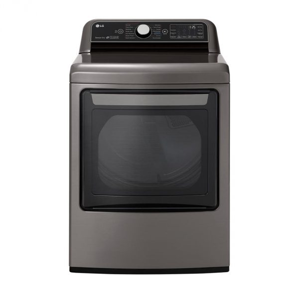 7.3 cu. ft. Ultra Large Smart Front Load Gas Dryer with EasyLoad Door, TurboSteam, and Wi-Fi Enabled in Graphite Steel