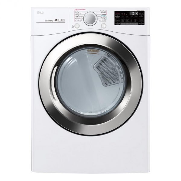 7.4 cu. ft. Smart Stackable Front Load Electric Dryer with TurboSteam, Sensor Dry, Pedestal Compatible in White